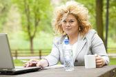 在公园中使用的笔记本电脑的商界女强人 — 图库照片