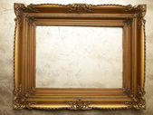 Old Picture Frame On Gold Wall — Stock Photo