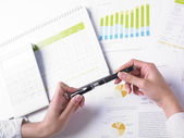 Pencil and Analyzing Business Data — Stock Photo
