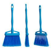 Three plasticblue brooms — Stock Photo