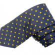 Yellow diamond pattern shappes blue tie — Stock Photo