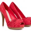 Stock Photo: Red high heel women shoes