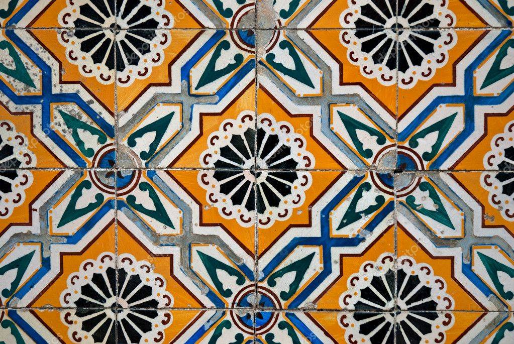 Vintage Spanish Style Ceramic Tiles Stock Photo