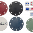 Poker chips and dice - Stock Photo