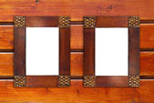 Two blank wooden frames — 图库照片