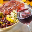 Antipasto and Wine — Stock Photo
