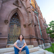 Stock Photo: Teen on Church Steps