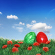 Colored eggs on the green meadow — Stock Photo