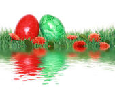 Beautiful decoration with green and red egg — Stock Photo