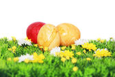 Yellow and red Easter eggs — Stock Photo