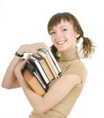 一堆书的女孩 — 图库照片