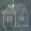 Child&#039;s drawing on asphalt - Stock Photo