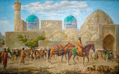 Paintings of the old eastern city — Stock Photo