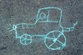 Child's drawing on asphalt — Stock Photo