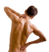 Back and shoulder naked male body — Stock Photo