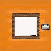 Textural tegelvägg med ledigt utrymme för din text — Stockvektor