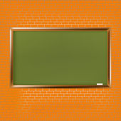 Empty school blackboard at brick wall — Stok Vektör