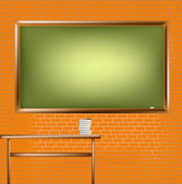 Empty school blackboard at brick wall — Stock Photo