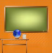 Tuğla duvar, boş okul yazı tahtası — Stok fotoğraf