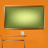 レンガの壁で空の学校の黒板 — ストックベクタ