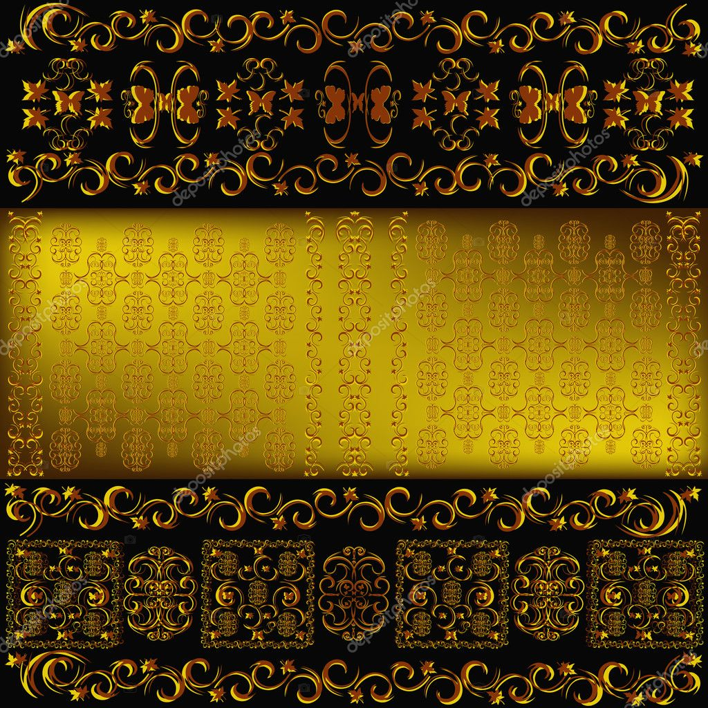 Decorative seamless wallpaper with a golden abstract east ornament — Stock Photo #5909708