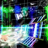 Inženýrství, projektování kosmické technologie — Stock fotografie