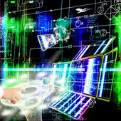 Inżynieria, projektowanie technologii kosmicznych — Zdjęcie stockowe