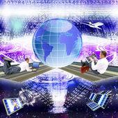 Die technologie internetbücher und globus — Stockfoto