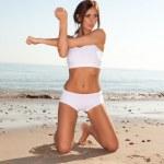 Fitness brunette — Stock Photo