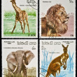 Collection of wild animals stamps. - Stock Photo