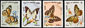 Collection of butterflies stamps. — Stock Photo