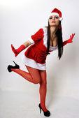 Dívka v vánoční oblečení — Stock fotografie