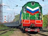 The multicolored locomotive. — Stock Photo