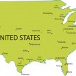 Map of USA with major cities — Stock Photo #5696781