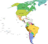 Map of south and north america with countries — Stok fotoğraf