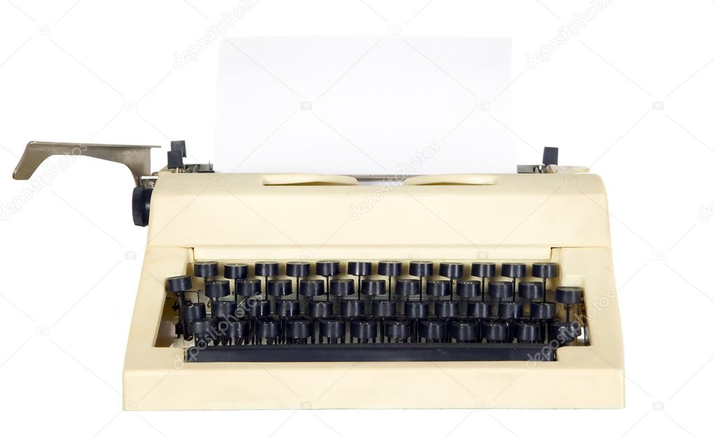 Old antique white typewriter with black keys — Stock Photo #5696751