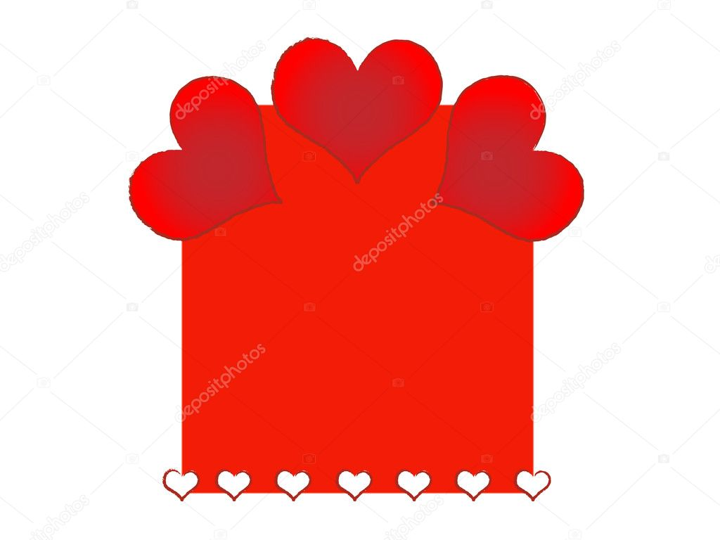 Frame from various size hearts for valentine day — Stock Photo #5696884