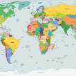 Stock vektor: Global political map of world, vector