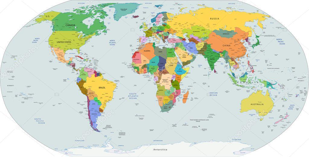 global political map of the world vector stock vector. Black Bedroom Furniture Sets. Home Design Ideas