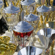 Background made from many champion trophy cups - Stock Photo