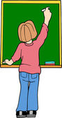 Student at Chalkboard — Stock Vector