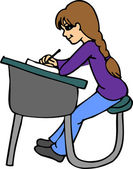 Student at Desk — Stock Vector