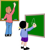 Students at Chalkboard — Stock Vector