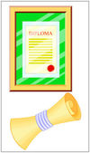 Diploma Rolled and In a Frame — Stock Vector