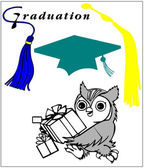 Graduation Cap and Owl with Gifts — Stock Vector