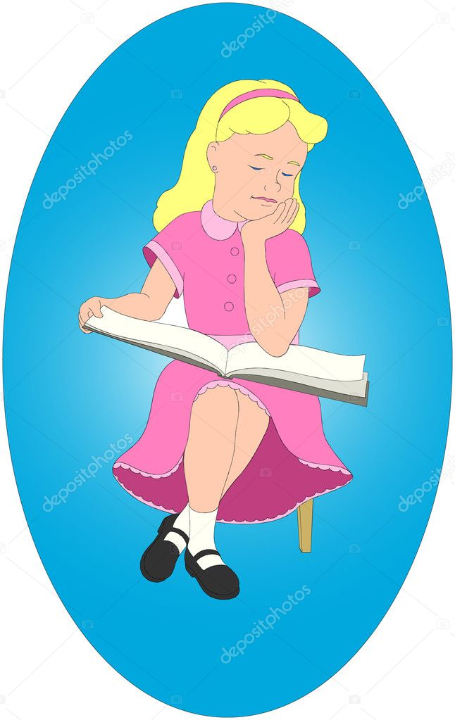 Girl Reading  Stock Vector #5437929