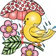 Bird with Umbrella — Imagen vectorial