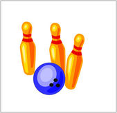 Toy Bowling Ball and Three Pins — Stockvector