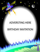 Satellite Birthday Invitation or Advertising — Stock Vector