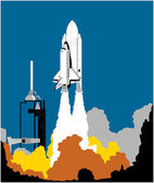 Space Shuttle Launching — Stock Vector